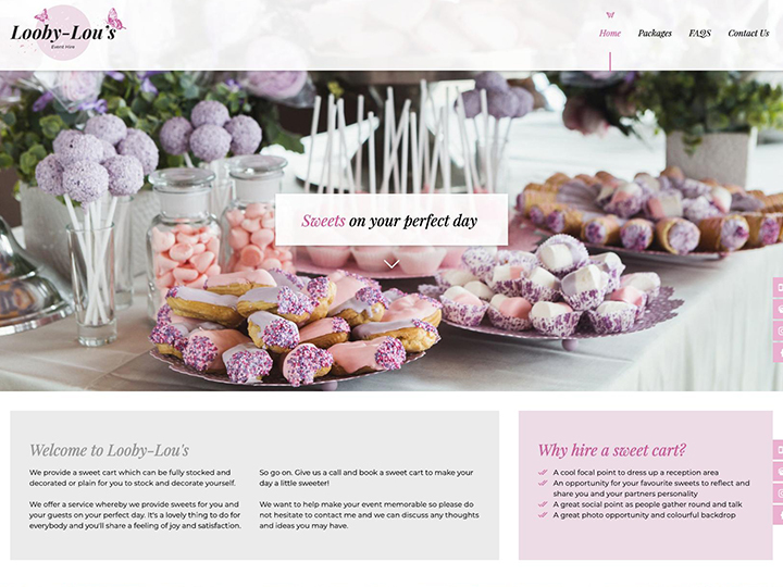 Website built for Kent sweet hire business example
