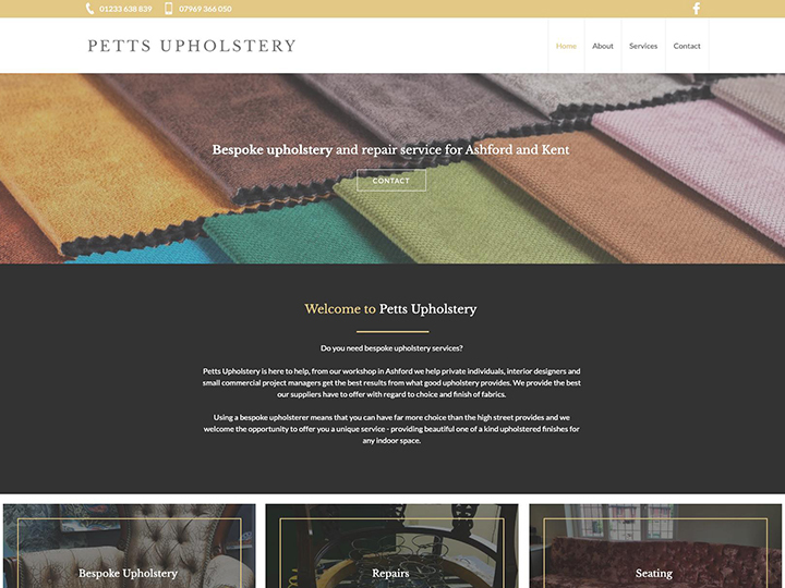 Website example designed by it'seeze Ashford for an upholsterer in Kent