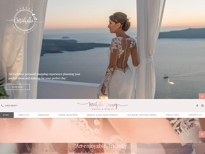 A really nice web design we did for a wedding dress and makeup artist.